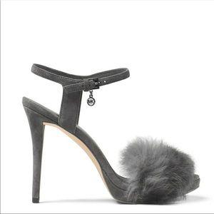 New! MICHAEL KORS Rabbit Fur Gray Heels Open-toe